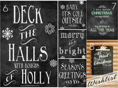 A whole big group of various Christmas printables-- from chalkboard to subway art, retro, classic, even The Grinch. Got em all. Free.