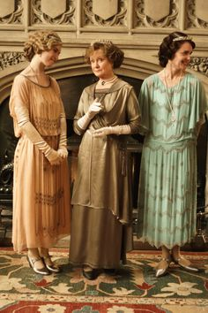 Lady Rose, the Duchess of Yeovil and Cora, Countess of Grantham (Lily James, Joanna David and Elizabeth McGovern) dressed for the house party at Downton Abbey.