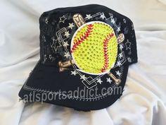 Softball Hat by AtlBowAddict on Etsy