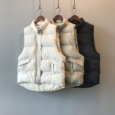 Simple Loose Stand Collar Puffer Jacket Cotton Vest | Down Vest, Puffer Vest, puffer outfit Puffer Vest, Puffer Jackets, Winter Jackets, Cotton Vest, Down Vest, Types Of Collars, Trendy Outfits, Beige, Clothes For Women