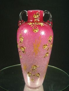 1880's Victorial Spangled Glass Vase, enameled roses
