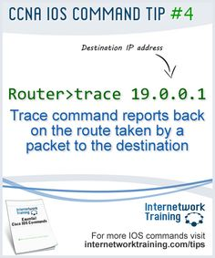 CCNA tip #4 - IOS Trace command used to check the route taken by a packet through a network