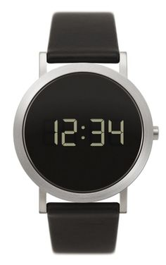 NORMAL TIMEPIECES- EXTRA NORMAL GRANDE DIGITAL WATCH (Black with Stainless Steel Case) - GreenerGrassDesign