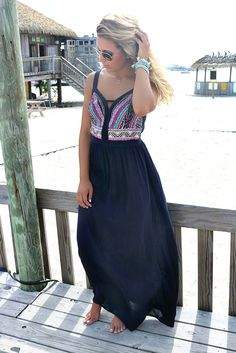 Crazy For Cozumel Navy Embroidered Maxi Dress – Amazing Lace