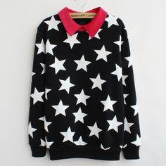 Stars fleece printed fleece sweater