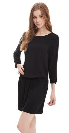 Ever-Pretty Fashion Casual Black Siamese Dress #everpretty #LBD #siamese