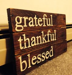 Rustic Wood sign Fall home decor wedding fall decor Reclaimed wood hand painted family sign Grateful Thankful Blessed inspirational quote on Etsy, $40.00