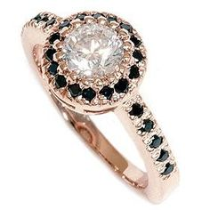 14K .93CT oro rosa Vintage negro & blanco diamante por Pompeii3