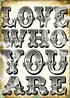 Typography Art Print LOVE who you are digital by LandofEnchantment, $4.29
