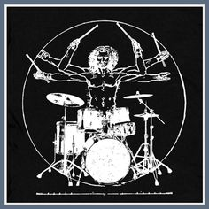 Da Vinci Drums T Shirt Drummer Man Rock Tee
