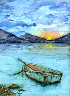 The Boat by Maria Pazos Alcohol Inks This piece will be part of UbeArt's MyScape Exhibit in Berkeley , CA Opening Reception: Friday, November 11, from 6-9PM SOLD
