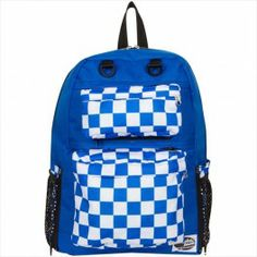 TINSLEY ROYAL BLUE BACKPACK WITH CHECKERS BLUE POCKETS BY ATTACHAPACK