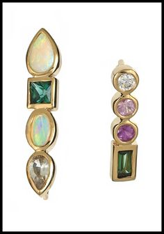 Ilana Ariel Stepping Stone stud earrings in yellow gold with colorful gemstones and diamonds