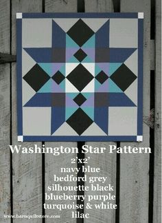 Painted Wood Barn Quilt, Washington Star Pattern This would be beautiful in fabrics, too! Barn Quilt Designs, Barn Quilt Patterns, Star Patterns, Quilting Designs, Fabric Patterns, Quilting Patterns, Patchwork Patterns, Quilting Ideas, Star Quilts