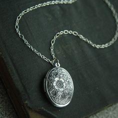 Antiqued Silver Poppy Locket Silver Locket by HeatherBerry on Etsy, $23.75