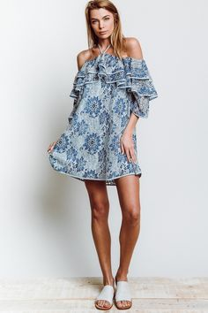 Rebecca Minkoff Dena Off Shoulder Dress in Blue Multi