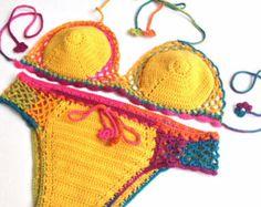 Crochet Bikini top bikini bottom brazilian bikini by senoAccessory