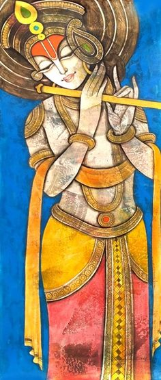 HappyShappy - India's Own Social Commerce Platform Durga Painting, Kerala Mural Painting, Tanjore Painting, Indian Art Paintings, Krishna Art, Shree Krishna, Lord Krishna, Oil Pastel Art, Indian Folk Art