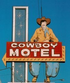 Amarillo, TX, Route Looks like he tried to give himself a Beatle haircut. I love the Western-meets-Googie/Space Age design. Old Neon Signs, Vintage Neon Signs, Old Signs, Advertising Signs, Vintage Advertisements, Creative Advertising, Roadside Attractions, Roadside Signs, Googie