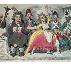 Ghastly caricature by James Gillray of Louis XVI being separated from his family.  The corpulent Louis clutches a goblet of wine while a haggard and whorish looking Marie Antoinette throws her hands helplessly in the air.  Sans culottes gleefully watch a priest give their former King a last prayer. ~ Leah Marie Brown