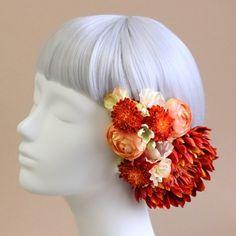 髪飾り・ヘッドドレス/手鞠菊の髪飾り(オレンジレッド)