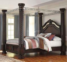 Dumont Queen Dark Cherry 6pc Canopy Bedroom Canopy