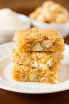 Macadamia Nut, Coconut & White Chocolate Blondies | via Brown Eyed Baker