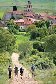 Pilgrim's Walk to Santiago de Compostela, through Ages village, Burgos, Castilla, Spain.  The pilgrimage route to the Cathedral of Santiago de Compostela in Galicia in northwestern Spain is where the remains of the apostle Saint James are buried.