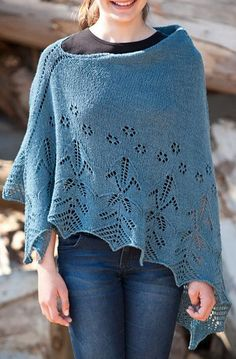 Hybrid Vigour Poncho free knitting pattern for asymmetric lace poncho with option beads AND more free poncho knitting patterns at http://intheloopknitting.com/poncho-knitting-patterns/