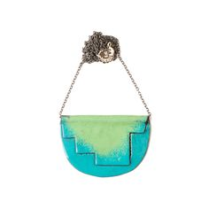'Enfold' necklace  Turquoise & green - 80cm oxidised chain vitreous enamel, copper & sterling Silver Oxidized Sterling Silver, Sterling Silver Chains, Vitreous Enamel, Copper, Victoria, Turquoise, Jewellery, Green, Polish
