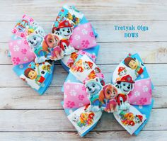 Paw Patrol Hair Bow Paw Patrol Birthday Skye Hair Bow Everest Hair Bow Marshall…