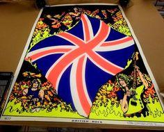 VINTAGE 1984 BRITISH ROCK BlackLight POSTER Union Jack SCORPIO Rolled RARE Rare #BlackLight Black Light Posters, British Rock, Union Jack, Scorpio, Vintage, Scorpion, Vintage Comics, Primitive