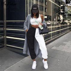 Hugcitar 2019 high waist patchwork sporty harem sweatpants autumn winter women loose casual sporty streetwear trousers W Bottoms