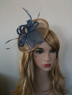 Blue and Beige Sinamay Fascinator by ToniDanieleMillinery on Etsy, $59.00