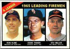 Baseball Cards That Never Were: 1966 Topps American League Leading Firemen. Ron Kline, Washington Senators, Eddie Fisher, Chicago White Sox, Stu Miller, Baltimore Orioles