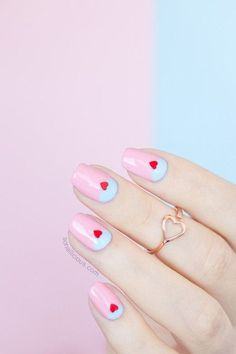 Wedding Nails-A Guide To The Perfect Manicure – NaiLovely Heart Nail Designs, Red Nail Designs, Heart Nail Art, Heart Nails, Blue Nails, White Nails, Pastel Nails, Acrylic Nails, Manicure Y Pedicure