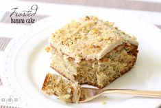 Make this Frosted Banana Cake from scratch in no time! Lovely banana flavor combined with rich, buttery frosting and topped with chopped nuts. Delicious!