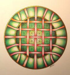 Mandala. Vlechtwerk met achtergrond in Keltisch trappatroon. Papier: Crea Kit A4…