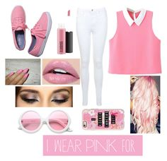 """i ❤pink"" by kaykaydabosss on Polyvore featuring WithChic, Miss Selfridge, Keds, ZeroUV, MAC Cosmetics, Casetify and iwearpinkforbreastcancer"