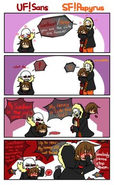 Underfell Sans ad Frisk, Swapfell Papyrus and Frisk   Underverse