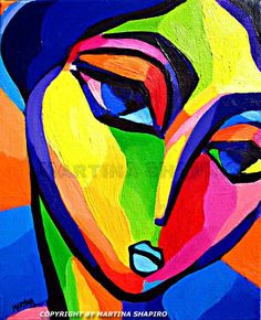 Art Deco Girl With Blue Lips contemporary, modern, abstract, expressionist original oil painting by artist Martina Shapiro fine art portraits