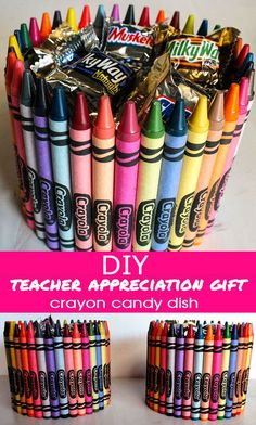 DIY Crayon Candy Dish Teacher Appreciation Gift | I Luv DIY