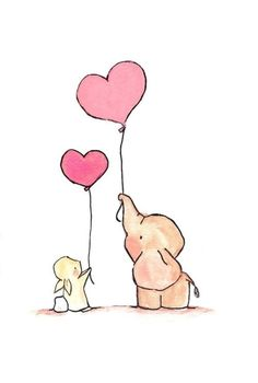 Elephant and Bunny holding Balloons