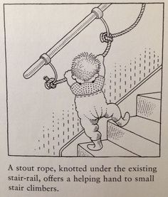 4e6e330b1a Stair toddler safety - so clever  interesting to add rope to the railing to  help little ones learn to climb the stairs safely!