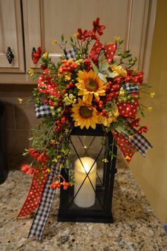 Summer Sunflower and Butterfly Lantern Swag by kristenscreations