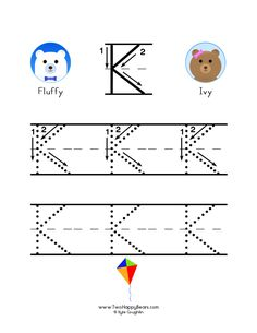 How to write the letter K, with large images to trace for practice, in free printable PDF format. Free Printable Alphabet Worksheets, Tracing Worksheets, Free Printables, Letter K, Letter Writing, Preschool Letters, Preschool Activities, Learning To Write, Colorful Pictures