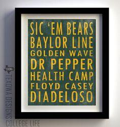 Baylor University Bears Subway Scroll Art Print. $25.00, via Etsy.