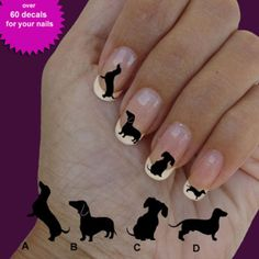 Dachshund, nail art, nail decal, set of 60 waterslide nail decal #dog016