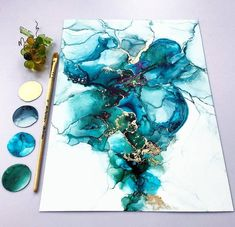 Fluid painting abstract art dutch pour on big canvas Alcohol Ink Crafts, Alcohol Ink Painting, Alcohol Ink Art, Acrylic Pouring Art, Acrylic Art, Art Sur Toile, Resin Art, Watercolor Art, Art Projects