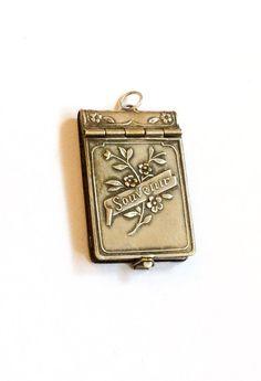 French Book Locket Pendant Souvenir Silver Art by OurBoudoir